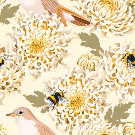 Japanese chrysanthemum and birds vector seamless background Illustration