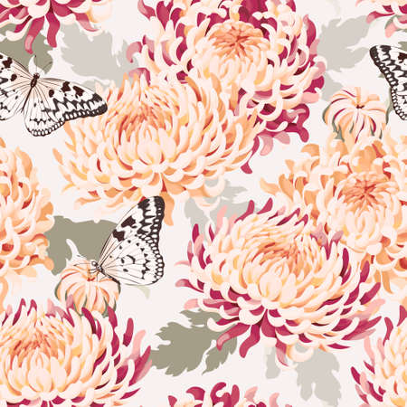 japanese chrysanthemum: Japanese chrysanthemum and butterfly vector seamless background Illustration