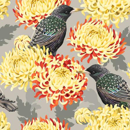 japanese chrysanthemum: Japanese chrysanthemum and birds vector seamless background Illustration