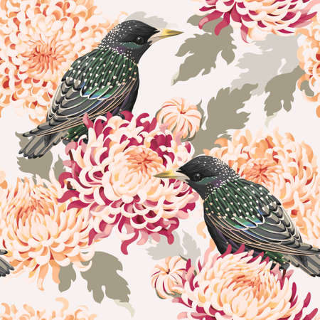 starling: Japanese chrysanthemum and birds vector seamless background Illustration