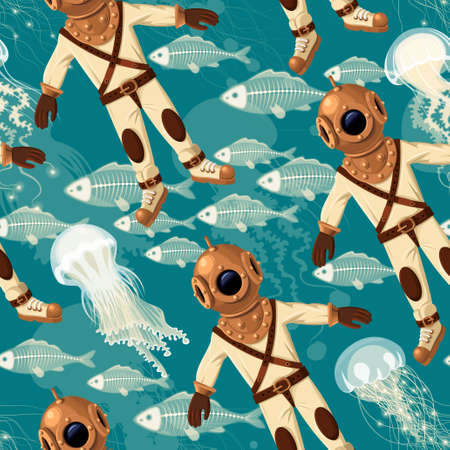 Vintage diver, fish and jellyfish vector seamless background