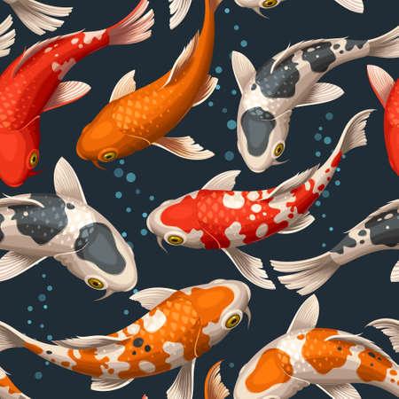 Varicolored floating koi carps vector seamless background Illustration