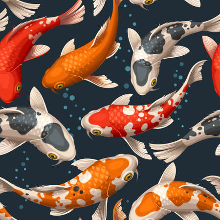 Varicolored floating koi carps vector seamless background Vettoriali