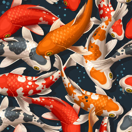 Varicolored floating koi carps vector seamless background Vectores