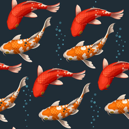 Varicolored floating koi carps vector seamless background Stock Illustratie