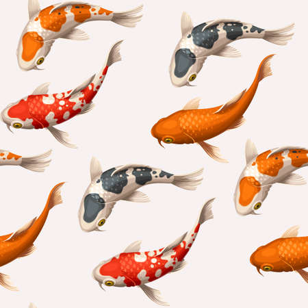 Varicolored floating koi carps vector seamless background