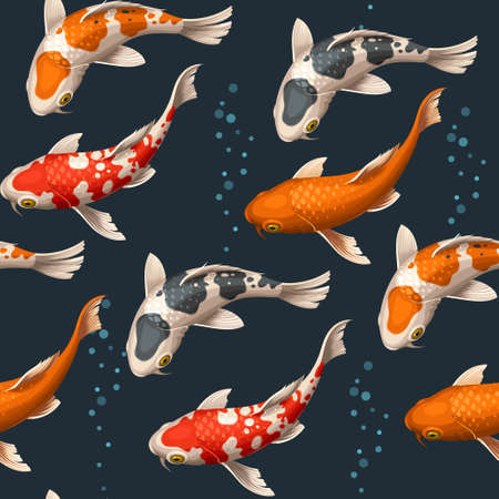 Varicolored floating koi carps vector seamless background 向量圖像