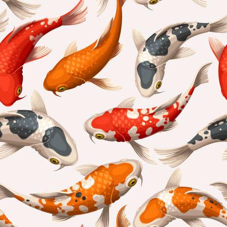 Varicolored floating koi carps vector seamless background  イラスト・ベクター素材
