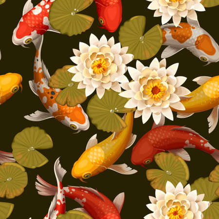 Koi carps and lotus vector seamless background 일러스트