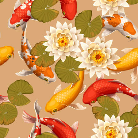 Koi carps and lotus vector seamless background Stock Illustratie
