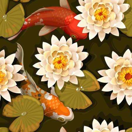 Carpas koi y de fondo sin fisuras de loto del vector Foto de archivo - 63388574