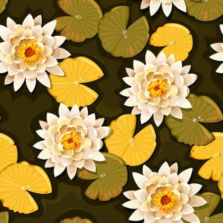boll: Detailed blooming white lotus vector seamless background