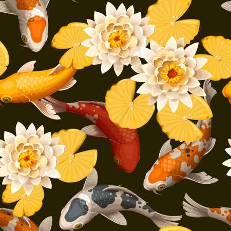 Koi carps and lotus vector seamless background Stock Illustratie