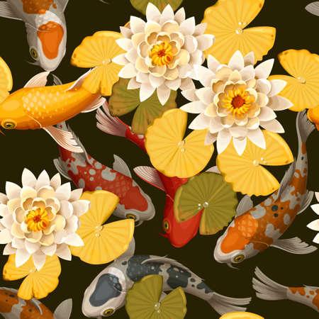 恋鯉と蓮シームレスな背景をベクトルします。  イラスト・ベクター素材