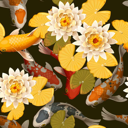 Koi carps and lotus vector seamless background Ilustrace