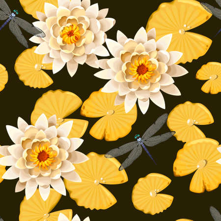 swimming carp: Koi carps and lotus vector seamless background Illustration