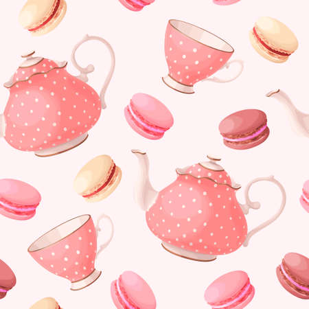 Vintage tea pots, cups and macaron vector seamless background Ilustração