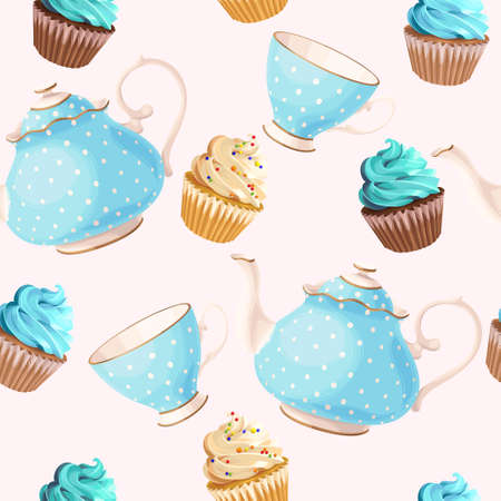 Teacups, teapots and cupcakes vector seamless background 向量圖像