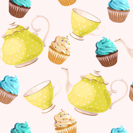 teacups: Teacups, teapots and cupcakes vector seamless background Illustration