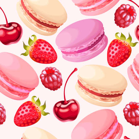 Macaron and ripe berries vector seamless background