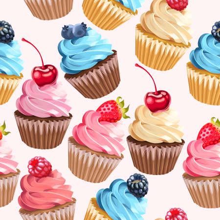 Cupcakes and polka dot vector seamless background