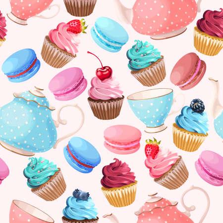 Teaparty mit kleinen Kuchen und Makronen Vektor nahtlose Hintergrund