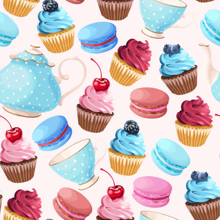 Teaparty with cupcakes and macarons vector seamless background Ilustração