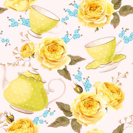 Vintage teapots, cups and flowers vector seamless background Zdjęcie Seryjne - 63430602