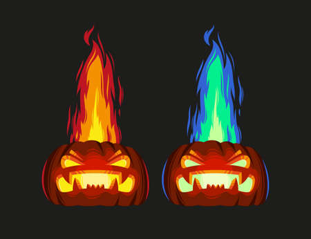 Vector illustration of scary pumpkin with fire