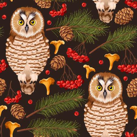 spruce: Owl, rowan and spruce vector seamless backround