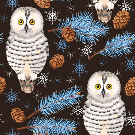 Polar owl and spruce vector seamless background