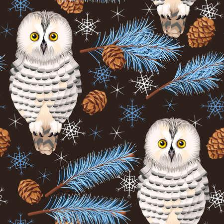 Polar owl and spruce vector seamless background