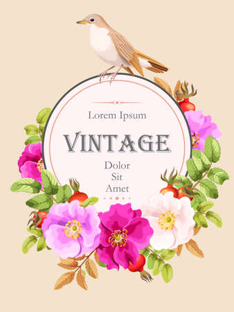 Vector vintage card with sweet briar and bird