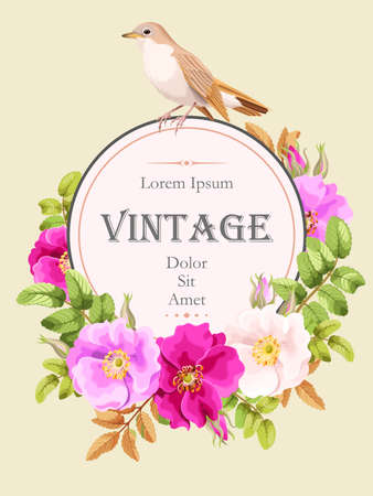dogrose: Vector vintage card with sweet briar and bird