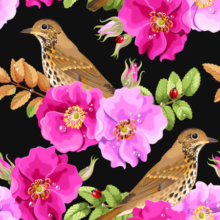 thrush: Dog-rose flowers and bird vector seamless background