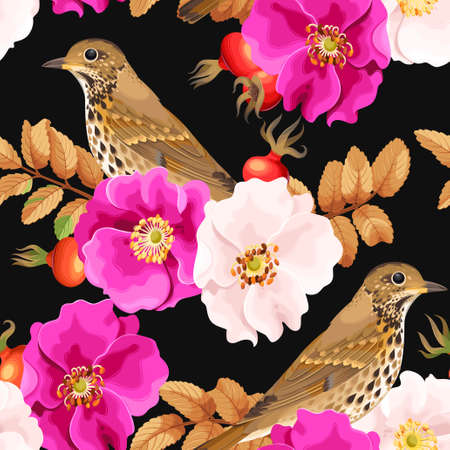 briar: Dog-rose flowers and bird vector seamless background
