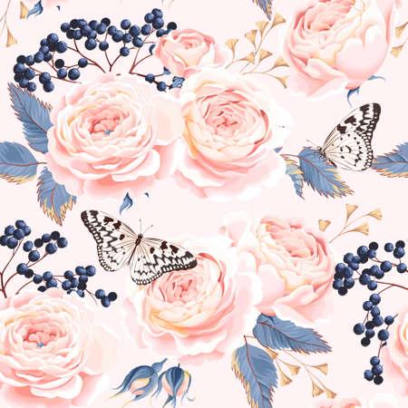 Vintage rozen en bessen vector naadloze achtergrond