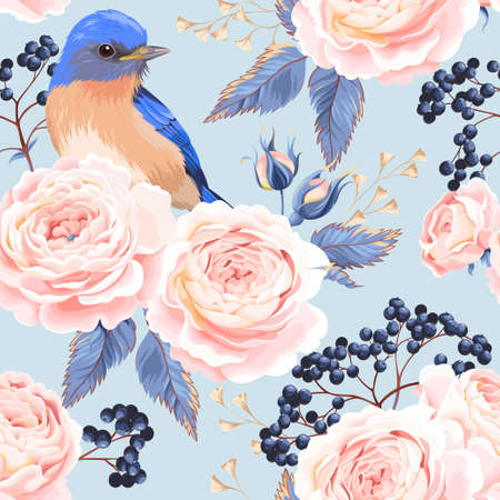 Vintage roses and birds vector seamless background Illustration