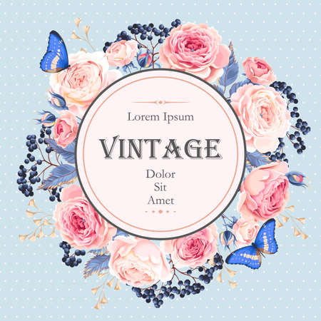 Vector vintage card with english roses and elderberry