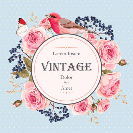 Vector vintage card with english roses and bird