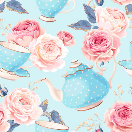 Vintage teapots, cups and flowers vector seamless background