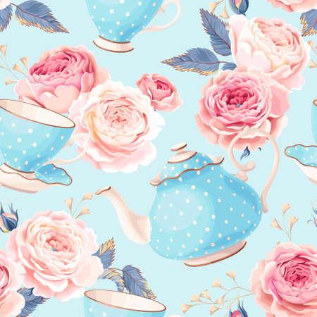 Uitstekende theepotten, koppen en bloemen vector naadloze achtergrond