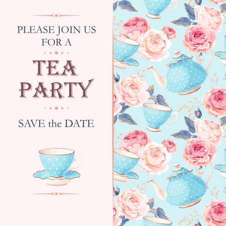 カップと花を持つベクトル ティー パーティーの招待状