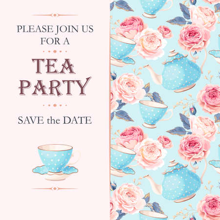 Vector tea party invitation with cups and flowers