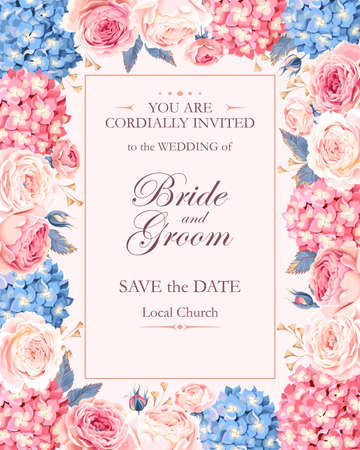 biege: Vector vintage wedding invitation decorated with roses and hydrangea
