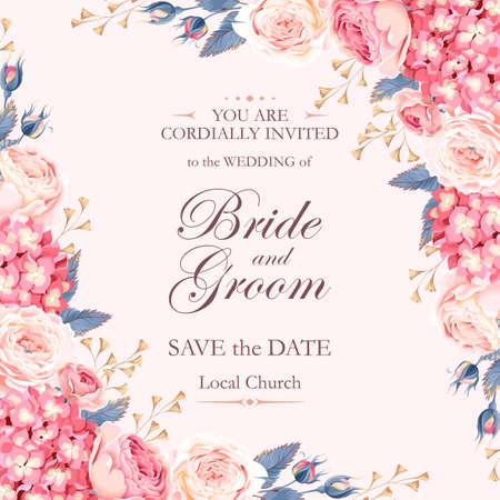 Vector uitstekende uitnodiging bruiloft versierd met rozen en hortensia