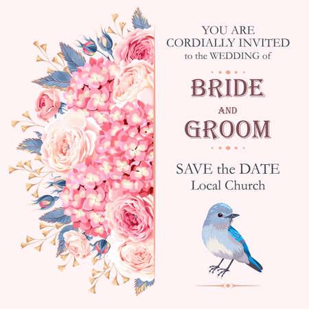 Vector uitstekende uitnodiging bruiloft versierd met rozen en hortensia Stock Illustratie