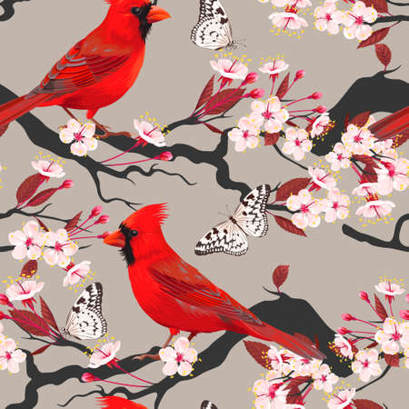 Cardinal and blooming cherry vector seamless backdrop