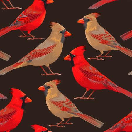 High detailed nothern cardinals vector seamless backdrop Vektorové ilustrace