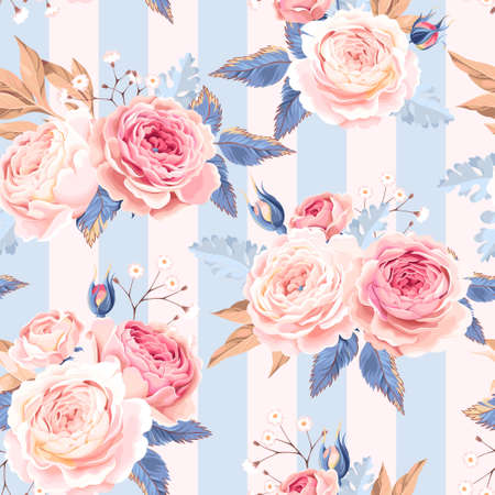 Vintage white and pink roses vector seamless background